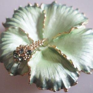 New Tropical Green Flower Swarovski Brooch